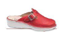 Apiro Forato - A - Pelle Rosso - Ciabatte ortopediche donna