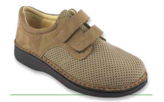 GIOVE Velcro Diabetico - Incas Camoscio Fora Noce / Nabuk - Scarpe per piede diabetico