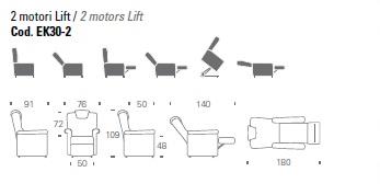 Kappa 30 - Poltrona Lift-Relax a 2 motori con funzioni Lift/Relax/Bed. Portata massima 130 kg.