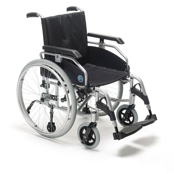 N23R24 - Carrozzina manuale pieghevole in alluminio a doppia crociera con schienale tensionabile.