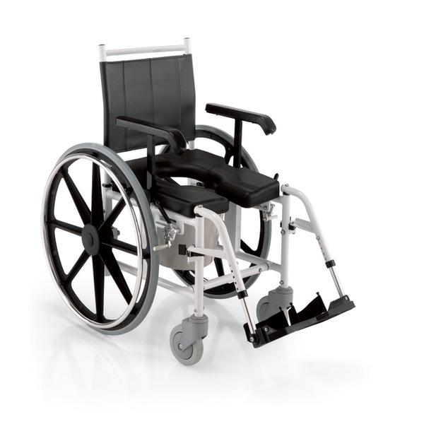 N35 - Carrozzina da doccia con telaio in alluminio verniciato, sedile in poliuretano autopellante espanso.