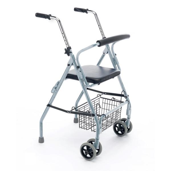 R16 - Deambulatore pieghevole in alluminio verniciato, ruote gemellari e 2 puntali posteriori.