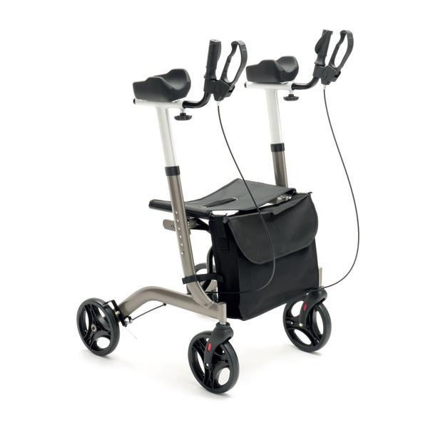 R23 - Rollator pieghevole in alluminio verniciato con supporti brachiali regolabili in altezza in 6 posizioni.