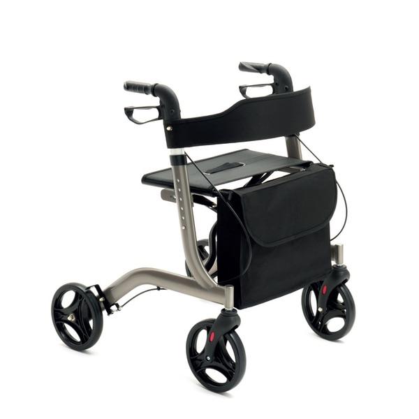 """R24 - Rollator pieghevole in alluminio verniciato, ruote da 8"""" in PVC e una seduta in tessuto."""