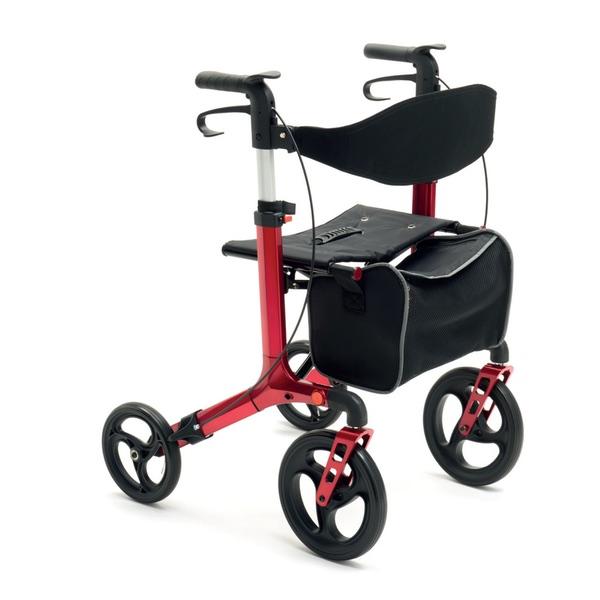 R26 - Rollator pieghevole in alluminio verniciato con ruote posteriori removibili. Peso totale 9 kg.