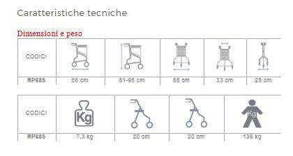 ROLLATOR PIEGHEVOLE IN ACCIAO VERNICIATO - 3 RUOTE CON CESTINO - CRYO - Rollators pieghevoli in acciaio