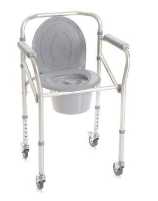 SEDIA COMODA 4 FUNZIONI IN UNA - SMONTABILE SU RUOTE - Rialzi stabilizzanti per WC