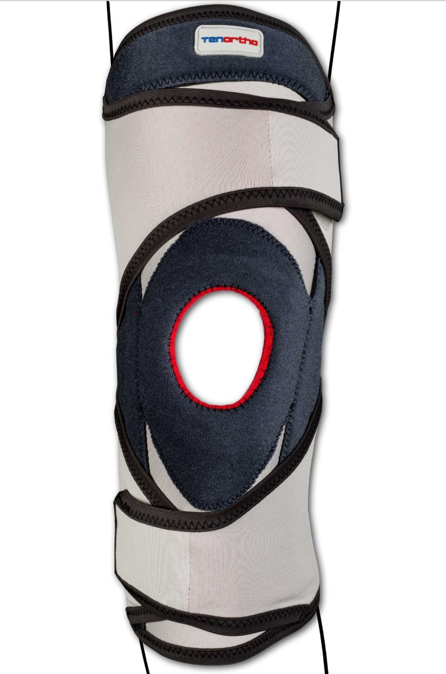 """Ginocchiera tubolare """"GENU-TONIC"""" con stecche a spirale - Ginocchiera tubolare con stecche a spirale e stabilizzatore rotuleo"""